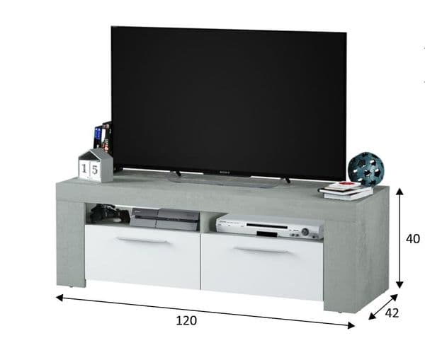 Cubo White and Grey TV Cabinet Entertainment Unit - 2905